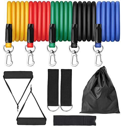 Latex Weerstandsbanden Gym Met Deuranker Enkelband Set Yoga Oefening Fitnessband Rubberen Loop Tube Elastische Banden 11 stks/set