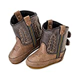 Old WEST Kids Unisex Poppets (Infant/Toddler) Leather Boots with Velcro Closure, Tan Vintage Foot/Brown Crackle Shaft, 3 D