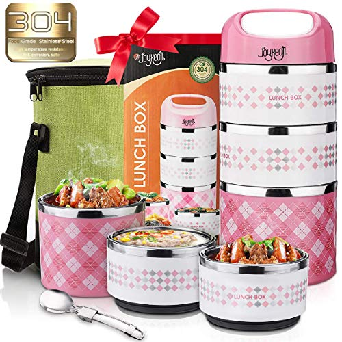 Stackable Lunch Box, JOYXEON Portable Stainless Steel 304 thermal lunch box 3-Tier Insulated Food Container 43oz, BPA free, with 600D Oxford Lunch Bag Foldable Spoon for Kids, Adult, Women, Men (Pink)