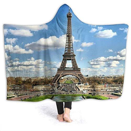 Blue Sky Torre Eiffel Manta con Capucha Manta de Abrigo de Terciopelo de Lujo Manta de Siesta cálida y acogedora súper Suave Poncho para Sala de Estar Dormitorio Dormitorio-Negro