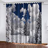 KJQTEN Blackout Curtains for Bedroom 200x214cm( W x H ) 2 Panels Curtains For Bedroom Eyelet Printed Blackout Curtains Thermal Eyelet Panels Beautiful Winter Snow Scene For Kids Living Room Curtains