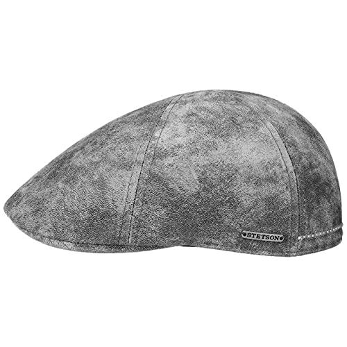 Stetson Texas Gorra de Cuero Hombre - Gorra Plana Estilo Gatsby - Gorra con Forro - Gorra de Cuero Verano/Invierno Gris S (54-55 cm)