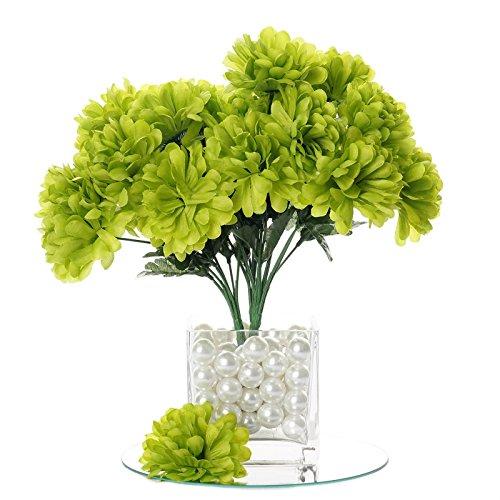 BalsaCircle 84 Lime Green Silk Chrysanthemums - 12 Bushes - Artificial Flowers Wedding Party Centerpieces Arrangements Bouquets