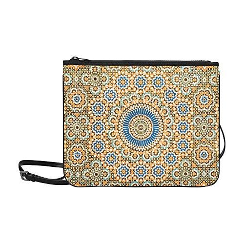 WYYWCY Blumen und marokkanische Fliesen Muster benutzerdefinierte hochwertige Nylon dünne Clutch-Tasche Umhängetasche Umhängetasche