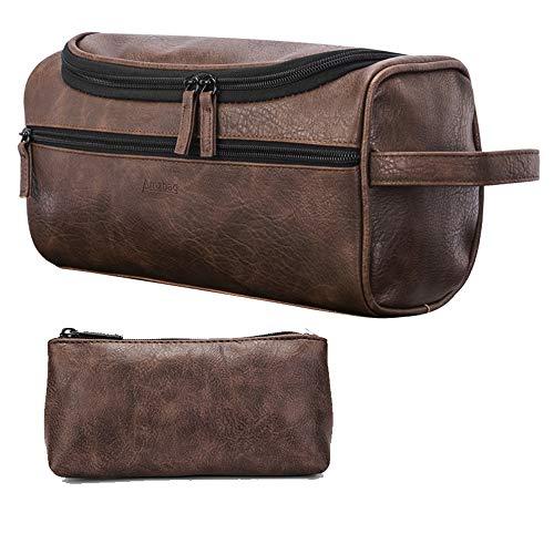 Bolsa de viaje de cuero, bolsa de aseo de dos piezas, bolsa de aseo de cuero resistente al agua, organizador de maquillaje de artículos de tocador de baño