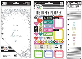 me & my BIG ideas The Happy Planner Medium Sized Dashboard (Plan Your Dreams), Everyday Reminders Sticker Book (PPS-66) With Go For It Bookmark (3 Item Bundle)