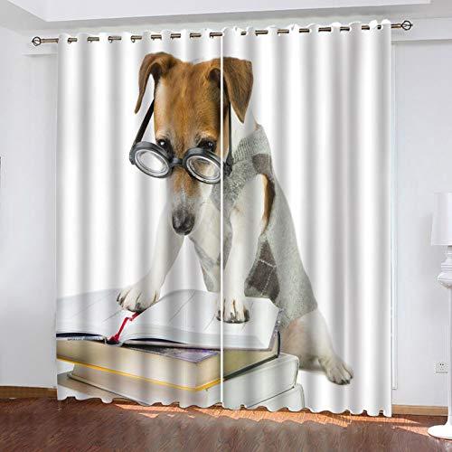 ZXPAG Cortina Aislante Para Dormitorio 3D Cortina Opaca Cortinas De Salón Y Dormitorio Moderno Aislantes Térmicas Con Ojales 2 Piezas - 264X160Cm - Patrón De Libro De Perro Animal