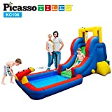 PicassoTiles KC108 Water Slide Park Inflatable Bouncing House w/ Pool Area (Splash Zone), Climbing Wall, Shower Head Sprays Mounts, Water Cannon Mount and Heavy Duty GFCI ETL Certified 385W Blower