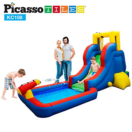 Buy Discount PicassoTiles KC108 Water Slide Park Inflatable Bouncing House w/ Pool Area (Splash Zone...