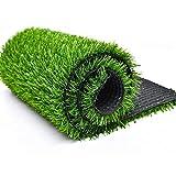 ALYR Gazon Artificiel Moquette, Réaliste Herbe Épais Tapis d'herbe Tapis Type avec Trous de Drainage Synthétique Pelouse pour Les Chiens d'intérieur en Plein air (20 mm),Green_12x24ft/4x8m
