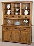Oak Furniture King Cotswold Large Rustic Solid Oak Dresser | Antique Dark Wood Vintage Style Dresser | 139 x 43 cm Dark Wood Dresser | Cotswold