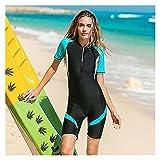 Buceo Wetsuits Mujeres, Cuerpo Completo surfeando Trajes de Buceo Deporte Scuba de una Pieza Manga Corta Swimsuits de Traje de baño (Color : Blue, Size : XXL)