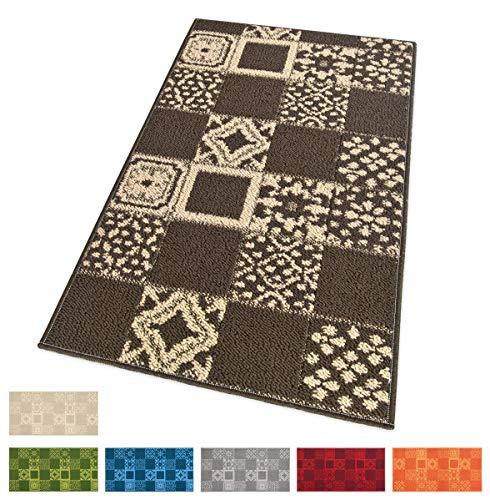 EMMEVI Teppich Küche Fliesen Maiolica Textil 3D Rückseite rutschhemmend Multiuso Läufer Corridoio Bad Camera MOD.Ambra 57x145 cm Arancione