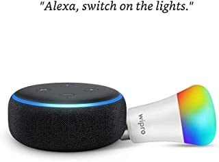 Echo Dot (Black) Combo with Wipro 9W LED Smart Color Bulb - Smart Home Starter Kit