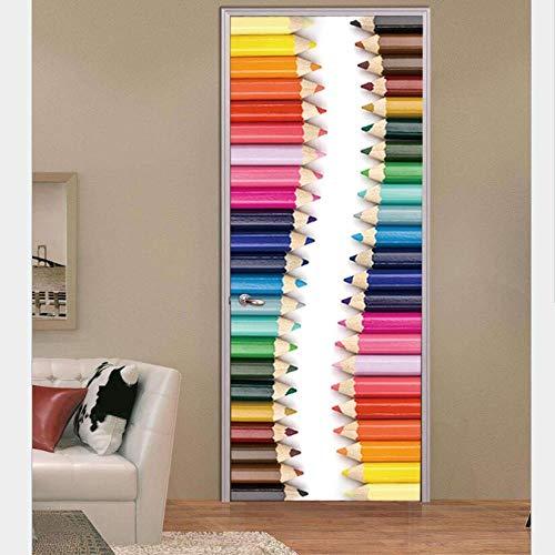 onlyfonebule 3D deurstickers, gekleurde potloden, slaapkamer badkamer decoratieve stickers, muurstickers, zelfklevend, muurschilderingen, PVC materiaal, waterdicht, art stickers
