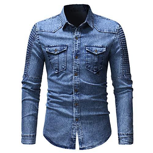 Herren Jeans-Hemd Langarm Denim Vintage...