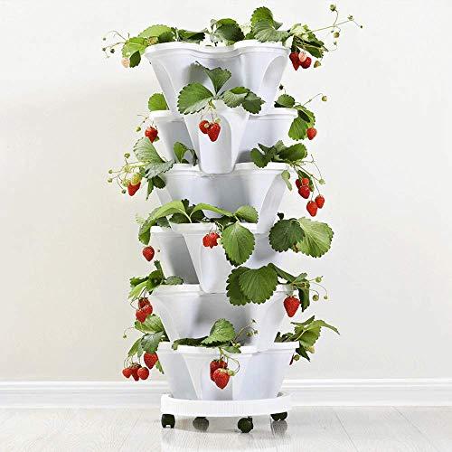 WHTIAN 6 Gruppen Multi-schicht Kombination Ablauf Stereo Blume Topf Familie Balkon Gemüse Melone Obst Pflanzung Topf Saving Raum Kunststoff Becken
