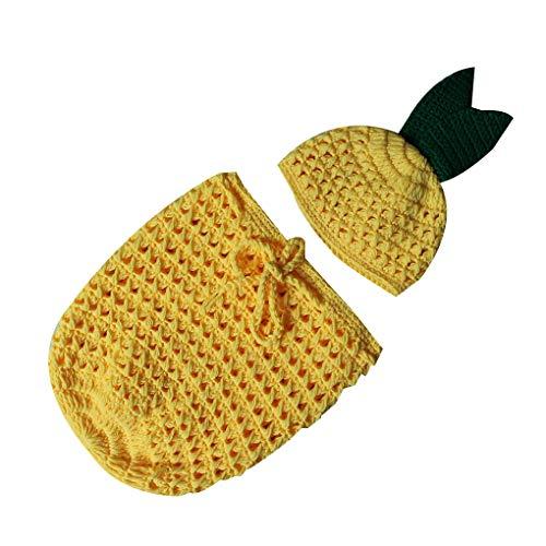 Mallb schattige ananas baby handgemaakte haak gebreide foto schieten outfits slaapzakken hoed set