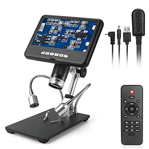 NOBGP Digitales Mikroskop, 17,8 cm (7 Zoll), 1080P LCD, USB, HD Kamera, Videorecorder mit 100-facher Vergrößerung, 8 LEDs, verstellbares Licht für Handyreparatur, Löten, Schmuck, Zertifikat