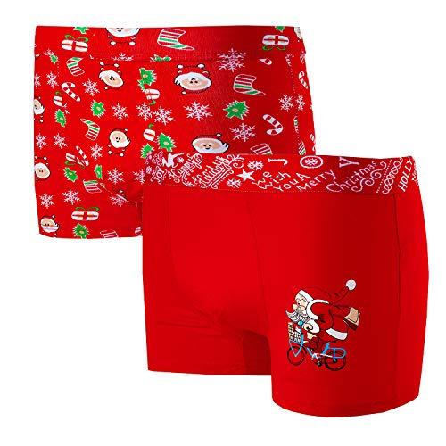 Bongual 2-4 Geschenkidee Herren Retroshorts Unterhose Baumwolle Weihnachten Motive Witz (Rot, XL)