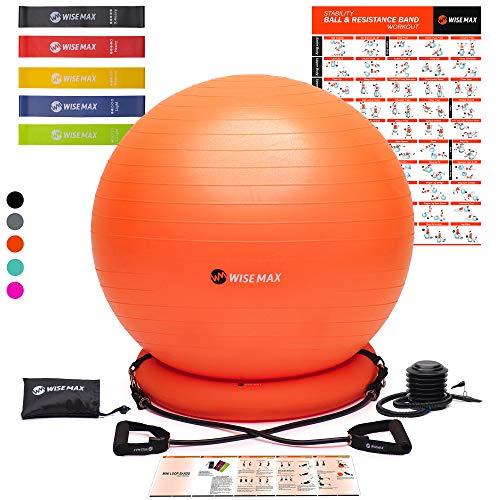 WISEMAX Gymnastikball Stuhl, Stabilität, Yoga, Balance-Ball mit Ringbasis, Widerstandsbänder & Pumpe, Loop-Bänder, Tragetasche, Poster für Zuhause, Büro, Haltung, Fitness-Studio, Home-Workout, 65 cm