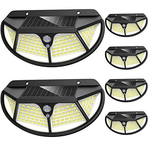 LANSOW 6 Stück Solarlampen für Außen mit Bewegungsmelder, 102 LED Solar Bewegungsmelder Aussen 2000mAh Solarleuchte für Außen, 3 Modi Wasserdichte Solar Wandleuchte für Garten (schwarz)