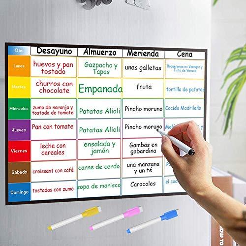 Planificador Semanal Tablero del Frigorífico (42x30cm) con 4 Colores Pluma para Pizarra- Pizarra Magnética en Español Utilizar como Planificador de Menús/de Actividades/Tabla de Tareas