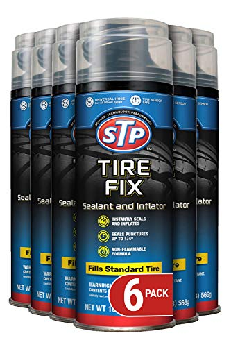 STP Car Tire Inflator and Sealant - for Cars & Truck & Motorcycle Wheels, 6 Pack, 19065-6PK