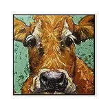 QINGHB Pintura Al Óleo Sin Marco Ojos Grandes Vaca Lienzo Pintura Animal Print Poster Pared Salón Decoración del Hogar-40 * 60 Cm