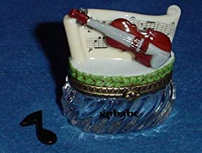 Violin on Crystal Base Trinket Porcelain Hinged Box PHB Midwest of Cannon Falls