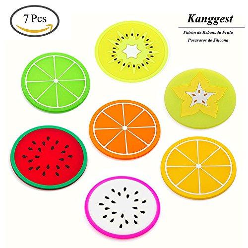 Kanggest 7Pcs Patrón de Rebanada Fruta Posavasos de Silicona para Vino Vidrio Café y Bebidas Decoración de Hogar Artesanía de Bricolaje(Color al azar)