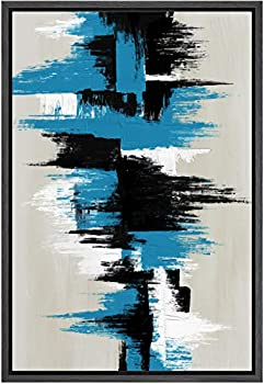 SIGNWIN Framed Canvas Wall Art Blue White and Black Abstract Line Canvas Prints Colorful Multicolor Home Artwork Decoration for Living Room,Bedroom - 16x24 inches