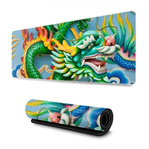 Tastatur-Mauspad, 900 x 400 x 2 mm, erweitertes XL, professionelles Gaming-Mauspad – rutschfester Gummi, grüner Drache, chinesisches Thailand