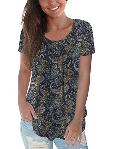 CPOKRTWSO Plus Size Shirts Blouses for Women 1X Short Sleeve Casual Floral Summer Tunic Tops, Flower02