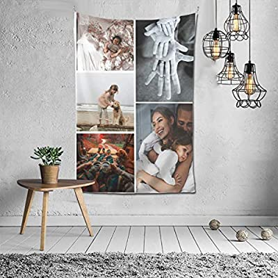 Custom Tapestry Personalized Design tapestry Customized Gifts Photos Collage Room Decor Birthday Fathers Mothers Day Gifts 90x60 Vertical(5 photos)