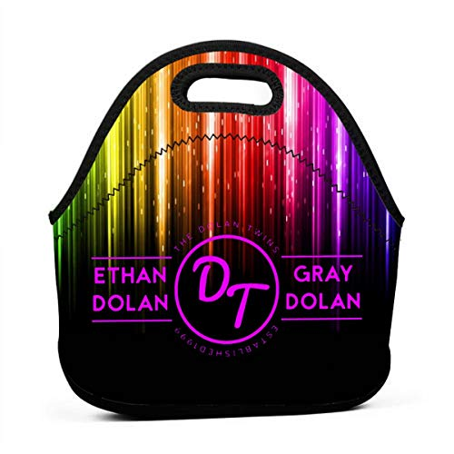 Tw_ins Do_lan Neoprene Lunch Bag for Adult Kids,Insulated Waterproof Lunch Tote Box for Work School Travel
