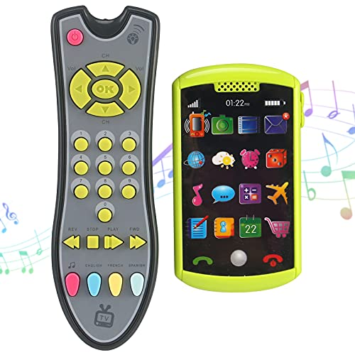 Liberty Imports 2 PCS My First TV Remote Control and Mobile Smartphone Kids Musical Toy Bundle Set   Realistic Music Learning Remote Phone Pretend Playset with Lights and Sounds