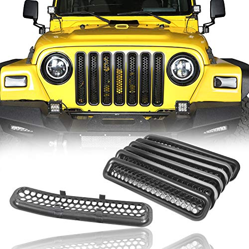 u-Box Front Grill Inserts Clip-in Honeycomb Front Mesh Guard in Black for 1997-2006 Jeep Wrangler TJ & Wrangler Unlimited (7PCS)
