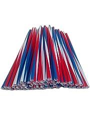 USA Jumborietjes Rood Wit Blauw Rietjes van kunststof, Rietjes in oversized (afmetingen: ca. Ø 8 mm x 250 mm), Hoeveelheid: 500 stuks