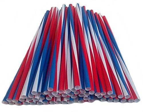 TrendandStylez USA Jumbotrinkhalme Rot Weiss Blau Strohhalm aus Kunststoff, Trinkhalme in Übergröße (Maße: ca. Ø 8 mm x 250 mm), Menge: 500 Stück