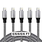iPhone Charger,5PACK[6-6-6-6-6ft] UNEN[MFi Certified Lightning Cable]Nylon Woven USB Charging Cable with Metal Connector Compatible iPhone 12/11Pro Max/11Pro/11/XS/Max/XR/X/8/8P/7and More-Black&White