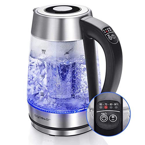 Aigostar Electric Glass Kettle with Variable Temperature, Keep-Warm, Detachable Tea Filter, British Otter Controller, Auto Shut-Off & Boil-Dry Protection, 2200W, 1.7L, BPA-Free - CRIS 30OSX.