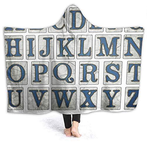 CVSANALA Portable Couverture à Capuche,New Orleans Street Tiles Alphabet Letters Collection Lettrage,Doux Chaud Toison Couverture de Jet Manteau Confortable pour Canapé-lit Home Travel,80\