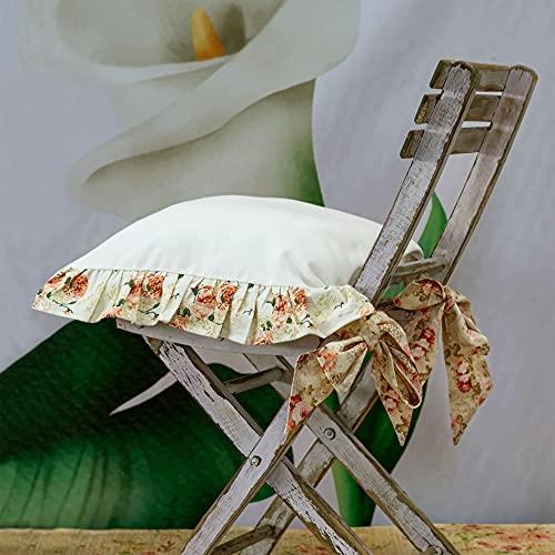 AT17 Cuscino per Sedia Shabby Chic con Volant Belle Epoque Collection 40 x 40 100% Cotone