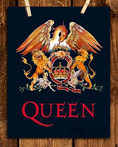 """Queen's Logo-Crest-Emblem"" Vintage Wall Art- 8 x 10 Wall Print- Ready To Frame- Classic Music Poster Replica Print. Home Decor-Studio-Bar-Man Cave Decor. Great Rockabilia Gift For All Queen Fans."