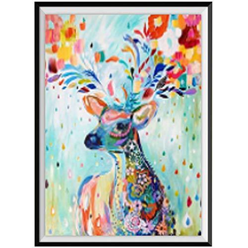 DIY diamante pintura cubo de Rubik redondo diamante patrón animal Color ciervo punto de cruz parche diamantes de imitación bordado decorativo Simple 26 * 33 CM