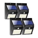 Luz Solar Exterior 42 LED ,Sensor de Movimiento, Impermeable Lámpara Solar , 3 Modos para Jardín , 1500mAh Ahorro de Energía Super , 4 Pack