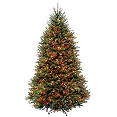 National Tree 6.5 Foot Dunhill Fir Tree with 650 Multicolor Lights, Hinged (DUH-65RLO)