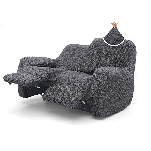 Menotti 2 Seater Recliner Sofa Cover - Sanitised Recliner Cover Couch Slipcover Soft Fabric Slipcover Wingback Recliner Stretch Furniture Protector -Microfibra Collection (Charcoal, 2 Seater Recliner)