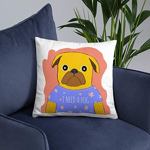 Lplpol Funda de almohada decorativa para perro, perro con gafas, divertida almohada de perro, almohada para amante de los perros, decoración única de dormitorio, almohadas modernas para sofá para el hogar sofá sofá cama cama, lona, Color #20, 50,8 x 50,8 cm (20 x 20 pulgadas)